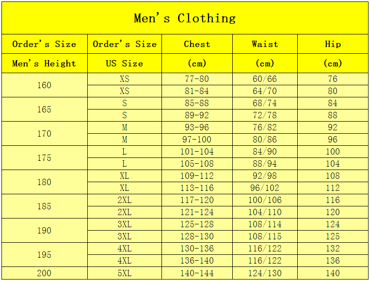 totalopt mens clothing size