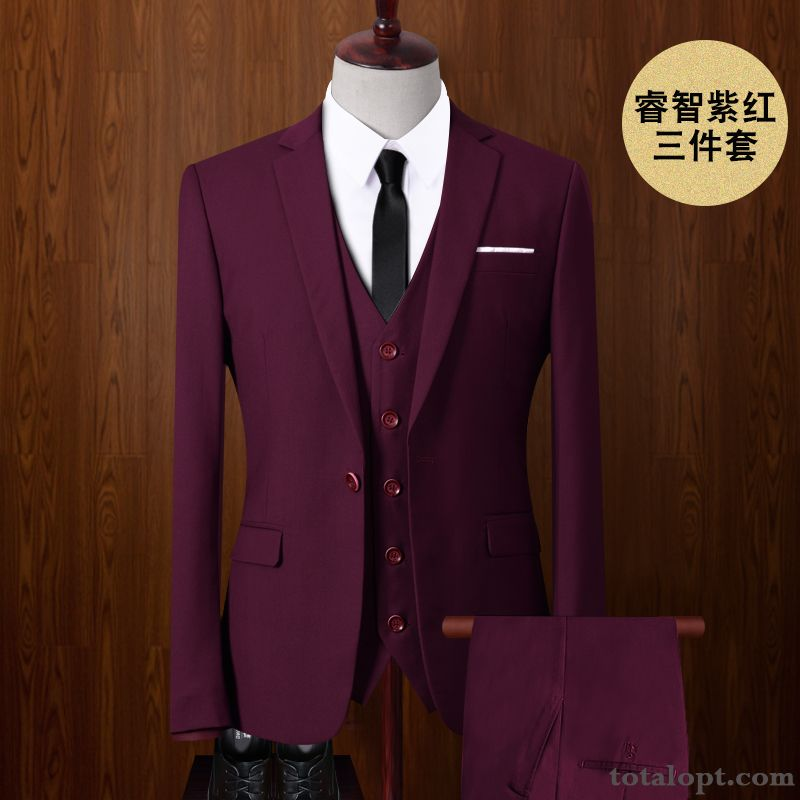 Cheap Dress Suit Europe Professional Men's Wedding Plum Lavender