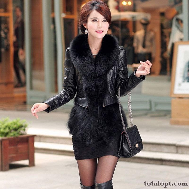 Cheap Lady Fox Trend Fur Collar Thickening Winter Coat Short Cotton Leather Yellowgreen Misty Gray