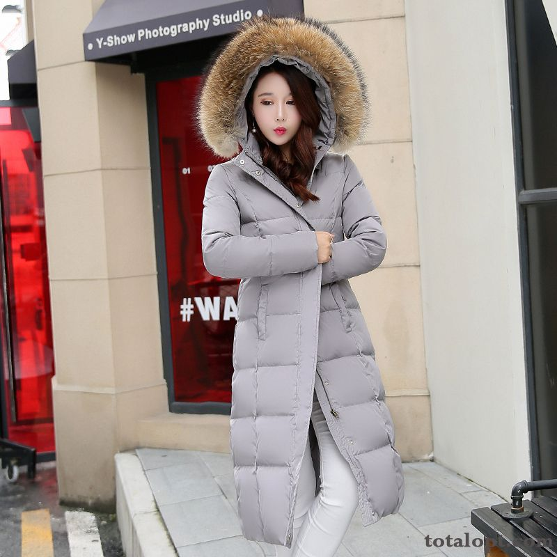 Cheap Slim Down Jacket Long Section Thickening Winter Clothes Big Fur Collar Black Europe Ultra New Women's Plus Length Violet Cherry