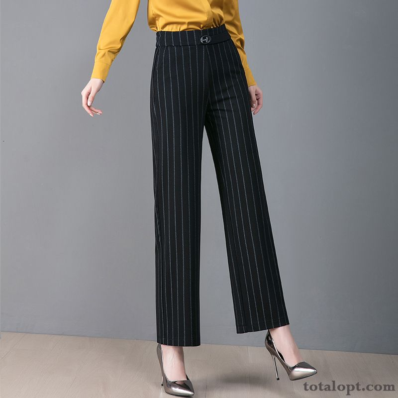 Cheap Straight High Waist Large Size Leisure Autumn Pants Women's New Black Loose Spring Trousers Elasticity Palegreen Paleturquoise