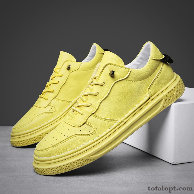Cheap Trend Yellow British All-match White Leather Shoes Causal Shoes Spring Men's Lavender Offwhite