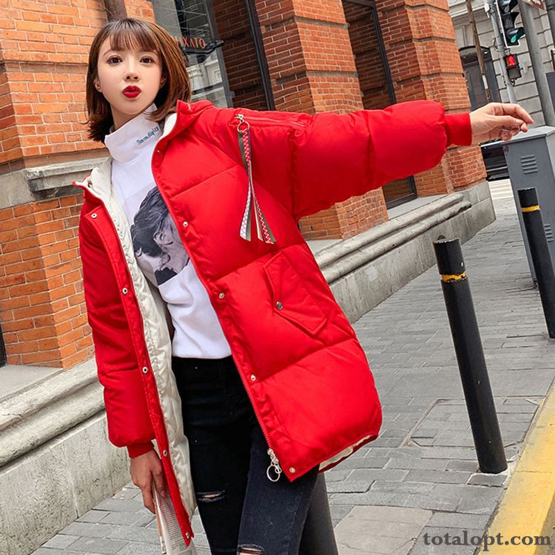 Europe Cotton-padded Student Winter Clothes Women's New Thickening Orange Pitch-dark
