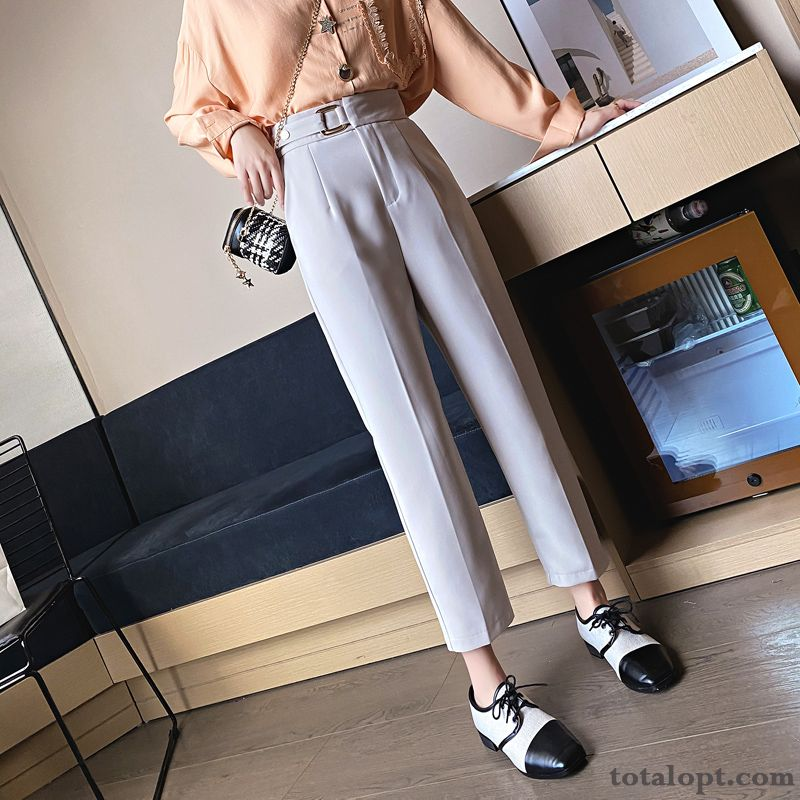 Europe New Autumn Fashion Loose Women's Spring High Waist Leisure Pants Black Nude Pink