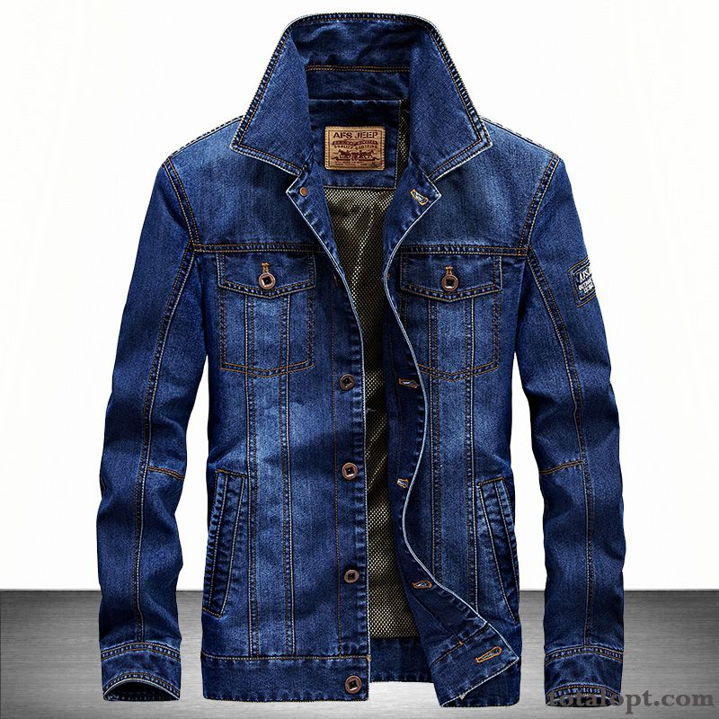 Men's Denim jacket Autumn Retro Coat Long Sleeves Youth Spring Leisure Greenyellow Vermeil