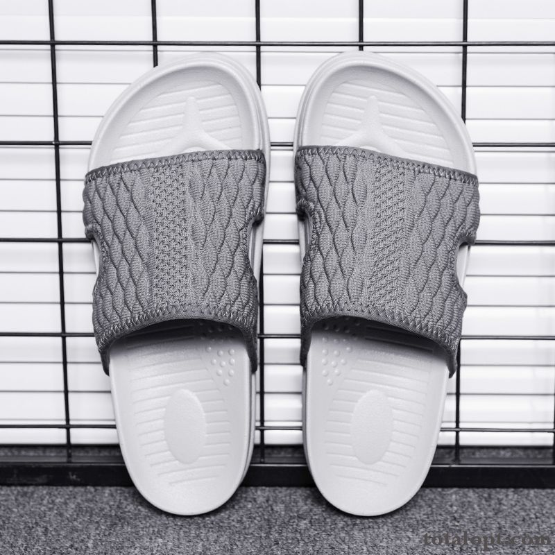 Men's Personality Youth Slippers Summer Trend Travel Gray Anti-skid Casual New Dull Black Reddle