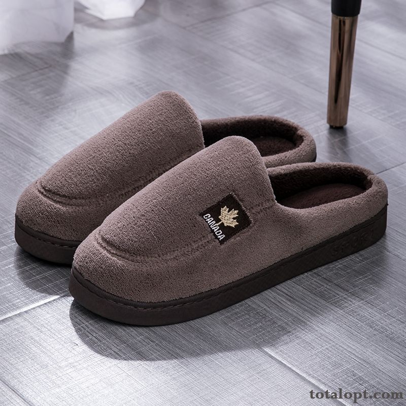 Men's Thick Sole Outwear Winter New Thermal Lovers Home Slippers Suede Anti-skid Autumn Gray Smoky Gray Yellowgreen Sale