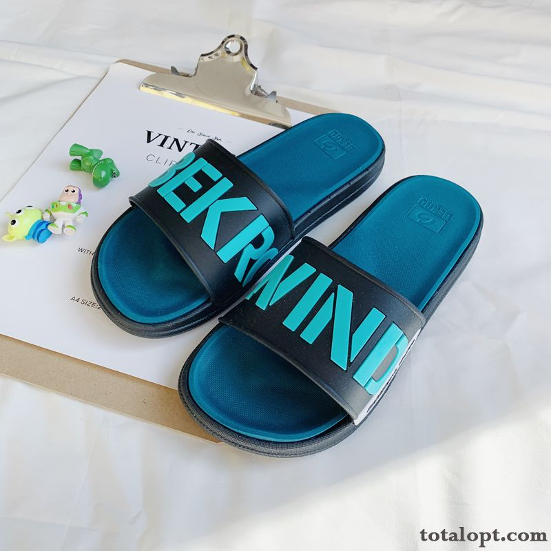 Personality Slippers Fashion Soft Sole Summer Letter Outdoor Outwear Anti-skid Men's Blue Trend Lemon Sienna