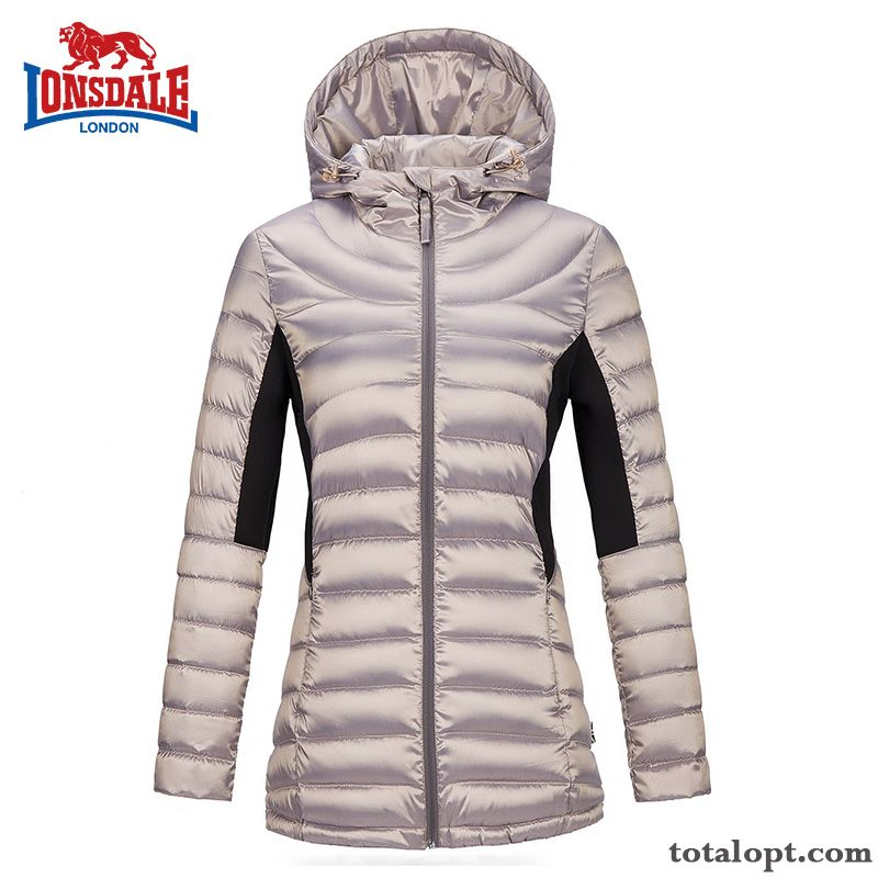 Slim Cotton Light Clearance Sale Women's Down Jacket Long Section Hooded Outdoor Ultra Special Offer Thin Misty Gray Maroon