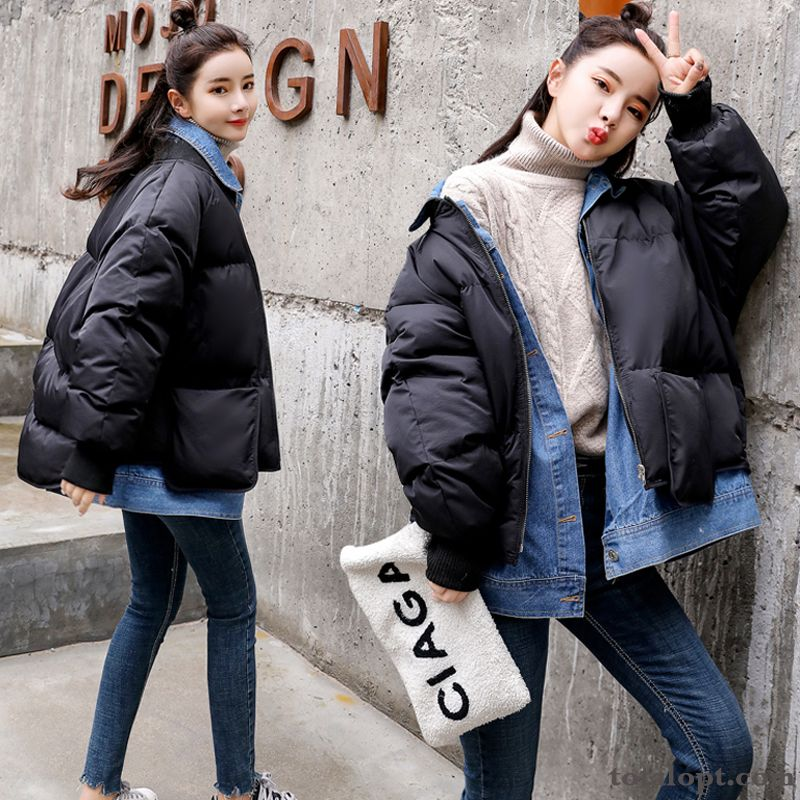 Winter Clothes New Cotton White Lady Short Splicing Student Coat Tomato Blue Green Sale