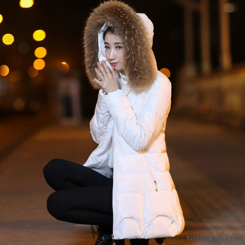 Women's Winter Clothes Europe Down Jacket Long Section Big Fur Collar Large Size Red Thickening Slim Misty Gray Ocean Blue