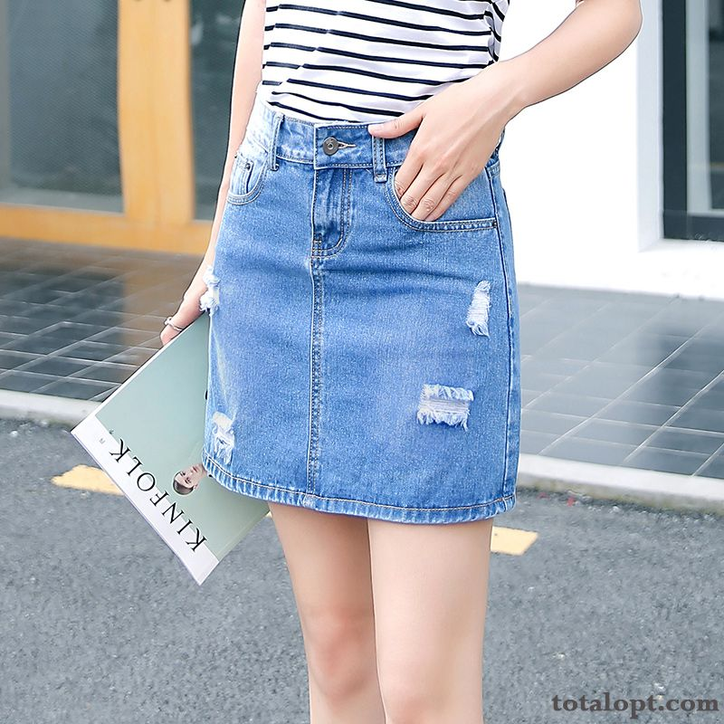 A Letter Spring Thin Europe Women's Student Pants High Waist Blue Short Skirts Hole Summer Pitch-dark Raw White