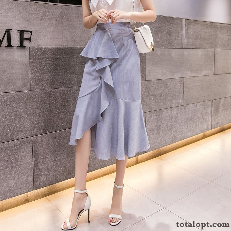 A Letter Temperament Summer Long Section Fishtail Lady Irregular Blue Lotus Leaf Women's High Waist Royalblue Misty Gray Discount