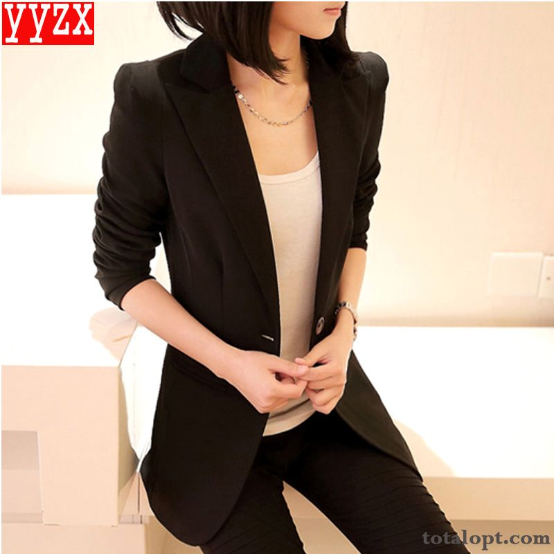 All-match Europe Autumn Large Size Slim Coat Suit Lady Professional Trend Long Section Spring New Seagreen Darkgray