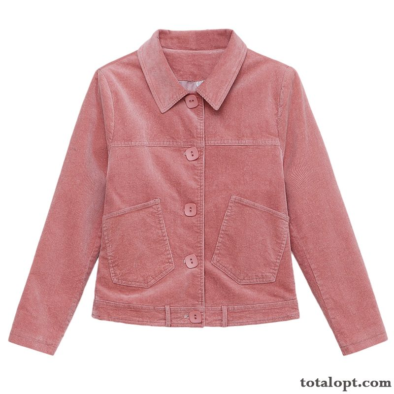 All-match Europe Short Pink Coat Jacket Women's Autumn Fashion Leisure Loose Spring New Trend Lemon Snowy White