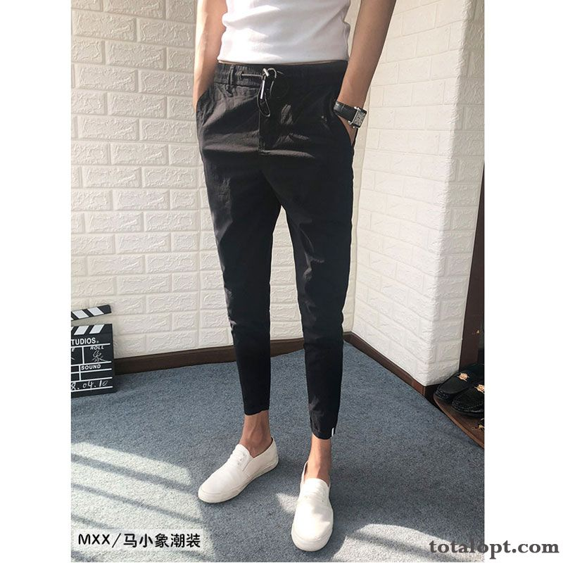 All-match Leisure Trend Pants Autumn New Black Men's Skinny Europe Powderblue Deep Yellow