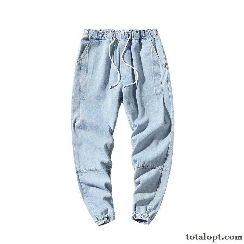 All-match New Trend Ninth Pants Blue Jeans Men's Skinny Summer Loose Tan Sallow
