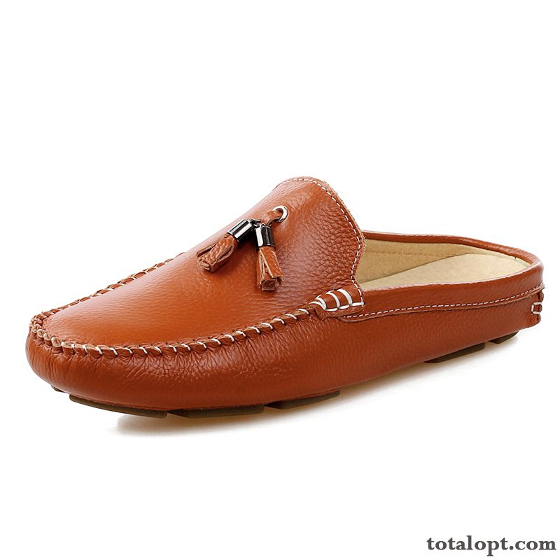 All-match Soft Sole Genuine Leather Loafers Trend Slippers Summer Lazy Personality Men's Leather Shoes Brown Casual Iris Tea Green