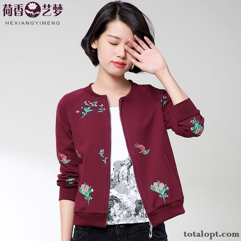 Autumn All-match Shorts Long Sleeves Printing Women's Coat Leisure Jacket Skinny Flower Breen Sienna Online