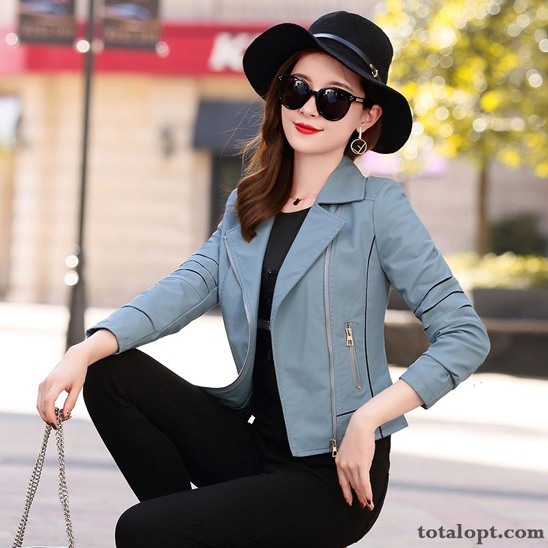 Autumn Blue Long Sleeves Elegant Temperament Leather Slim Leisure Comfortable Fashion Trend Ocean Blue Earth Yellow Discount