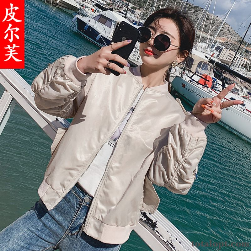 Autumn Jacket Women's Flower Popular Printing Spring All-match Loose New Student Coat Short Powderblue Rose Discount