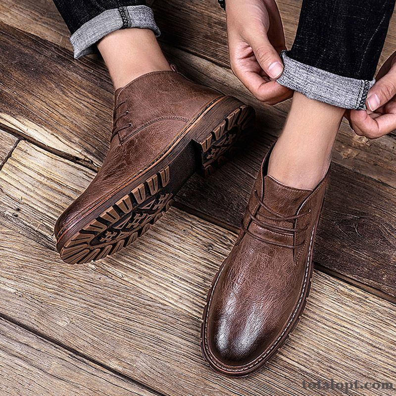 Autumn Leather Shoes Brown Business British Martin Boots Short Boots Spring Men's Red Casual High Top Trend Darkkhaki Winered