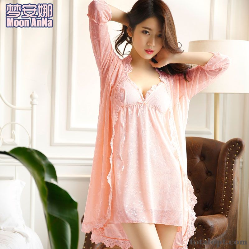 Autumn Sexy Spring Summer Princess Camisole Winter Lace Lady Two-piece Suit Pajamas Maize Breen