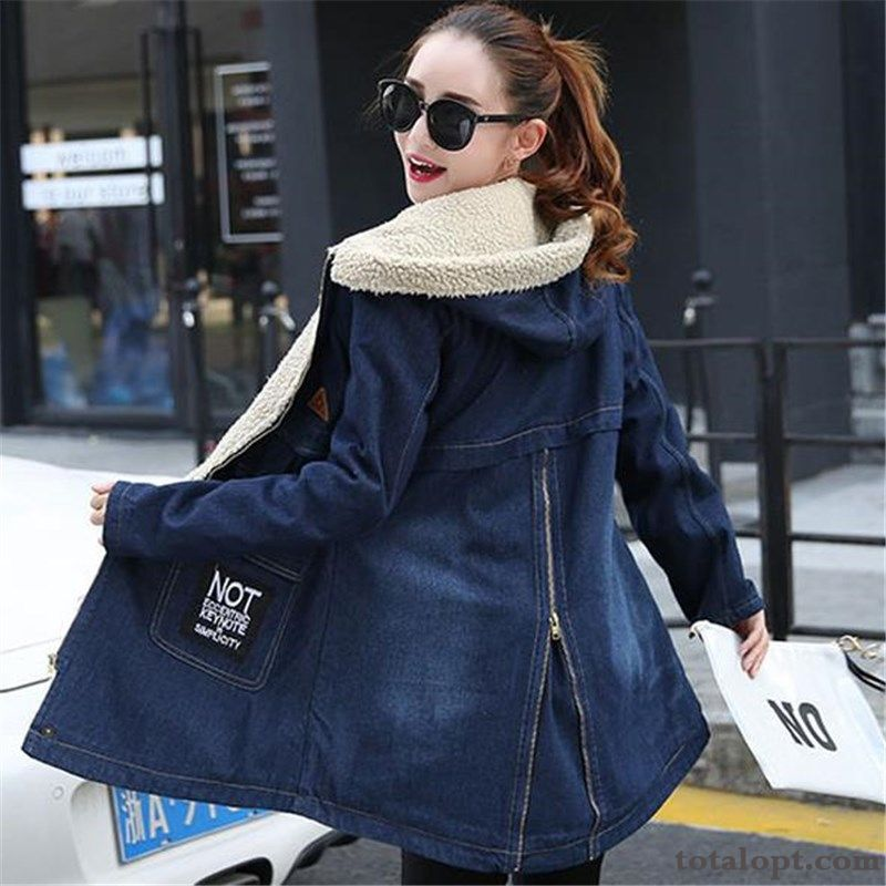 Autumn Spring Student Overcoat Winter Clothes Girl Loose Long Section Gray Royalblue Online