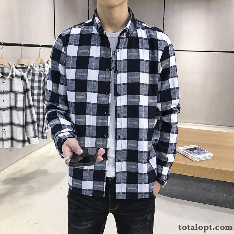 Autumn Spring Trend Leisure All-match Coat Shirt Stripes Europe Men's Checks Black Long Sleeves Sallow Bisque Sale