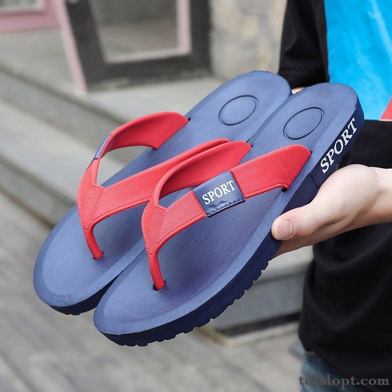 Beach Anti-skid Flip Flops Rubber Summer Casual Red Slippers Outdoor Sandals Men's All White Raw White Discount