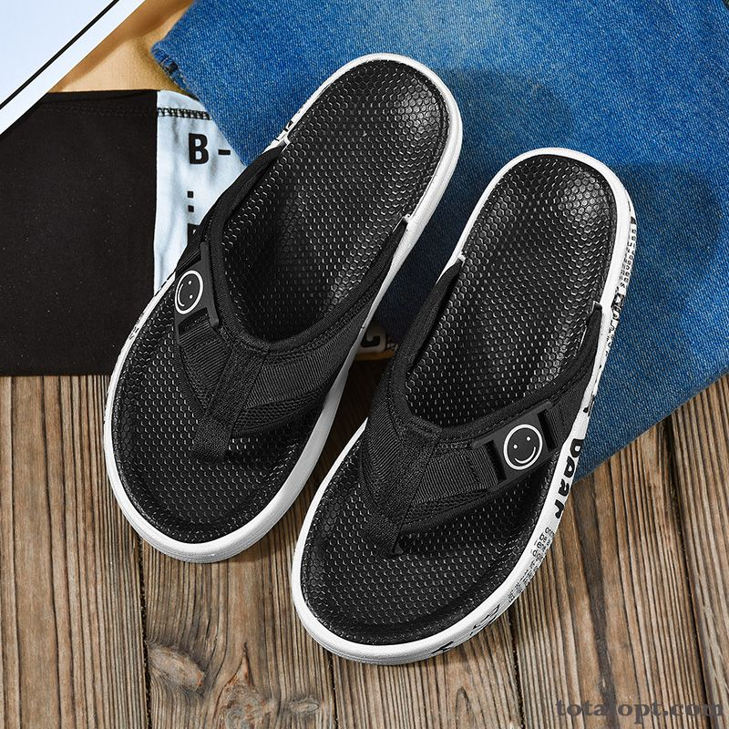 Beach Anti-skid Simple Men's Summer Soft Sole Slippers Black Flip Flops Rubber New Khaki Pansy
