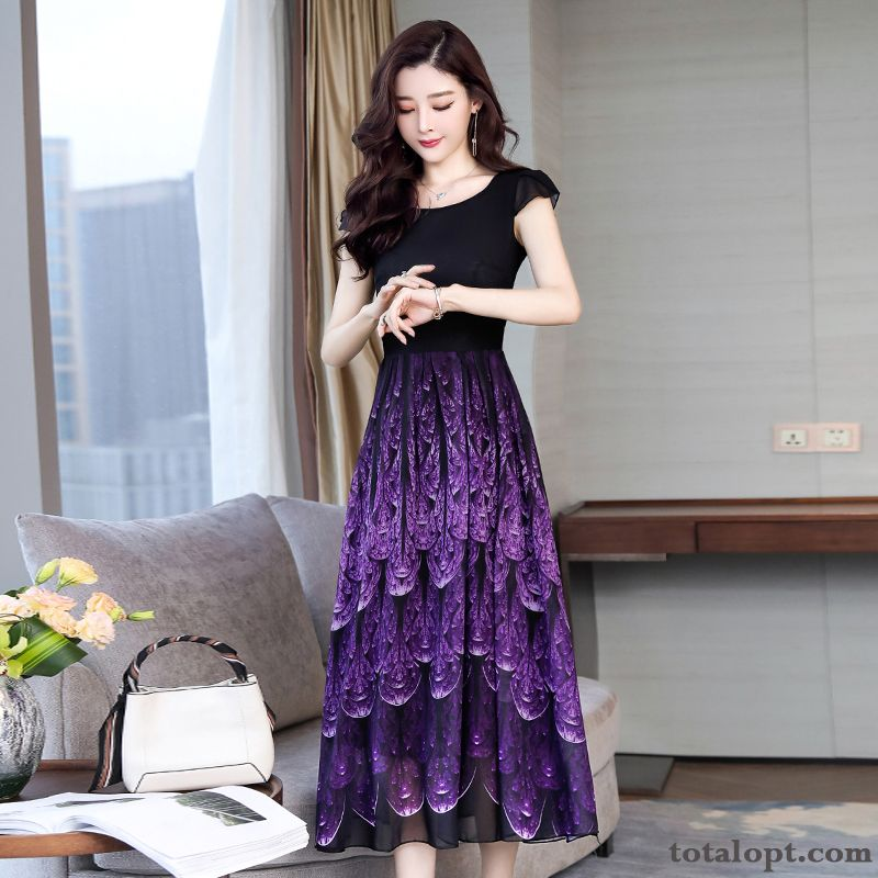 Beach Chiffon Women's Purple Long Skirt Flower Ultra Long Section Big Plus Length Printing Top Grade Tan Rubine