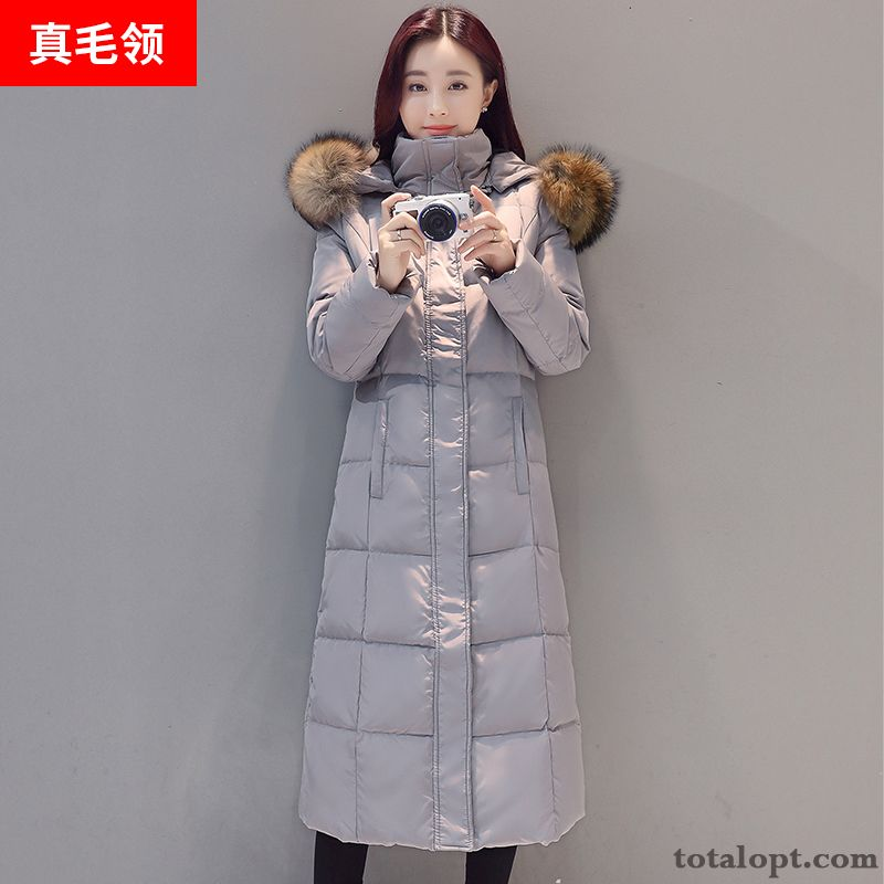 Big Fur Collar Slim Down Jacket Thickening Winter Clothes Trend Europe Women's Long Long Section New Grey Black All White For Sale
