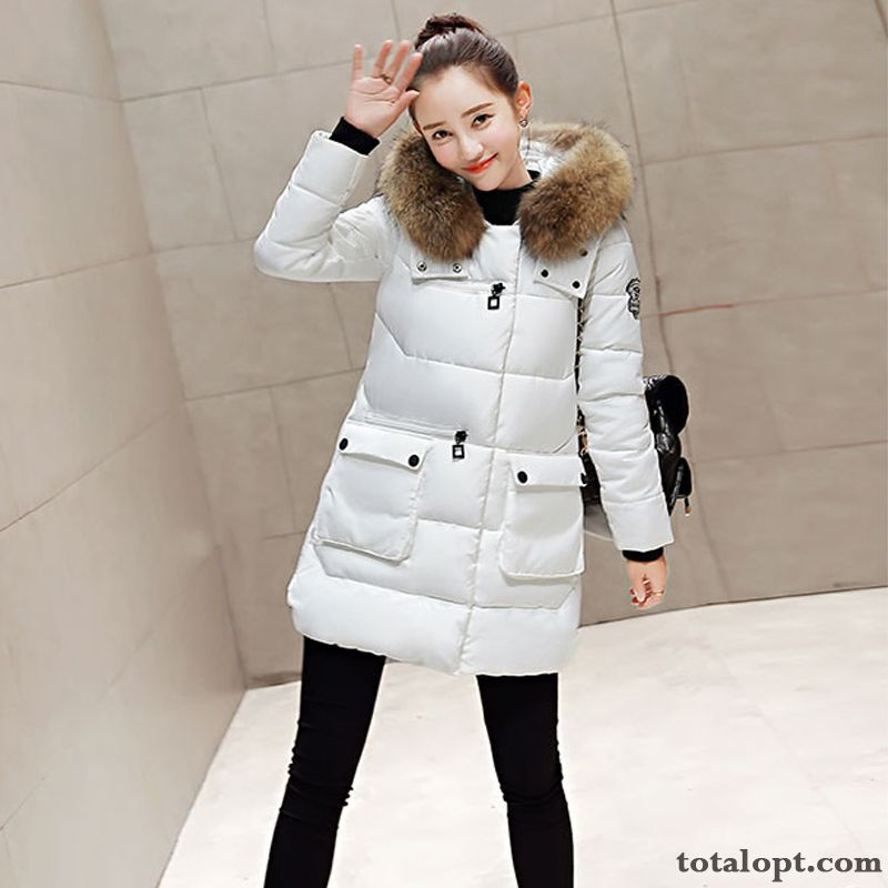 Big Fur Collar Slim Down Jacket Winter New White Thin Duck Down Women's Large Size Coat Raccoon Long Section Paleturquoise Snow-white Sale