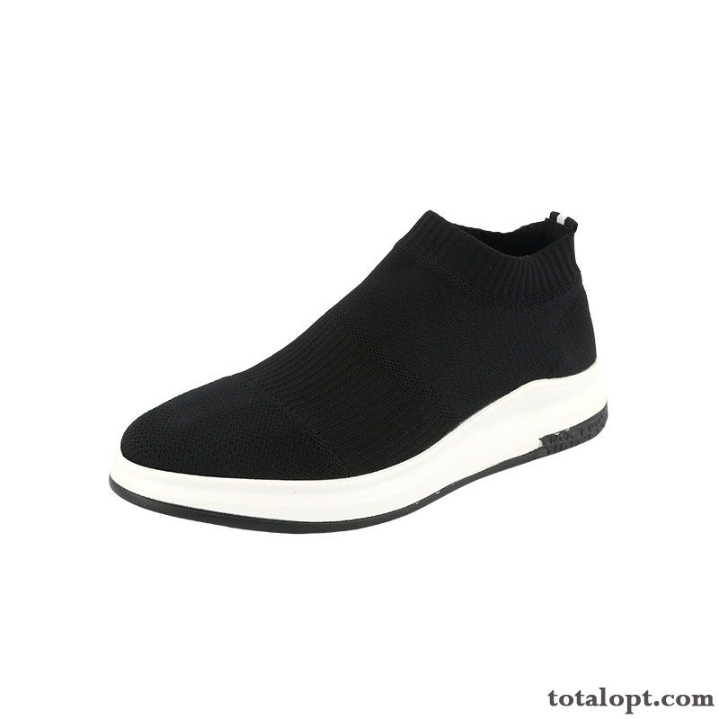 Black Cloth Shoes Autumn Plus Velvet Trend Knitting Causal Shoes Men's Slip-on Spring Sport Slip On Flying Weaving Shocking Pink Sky Blue Sale