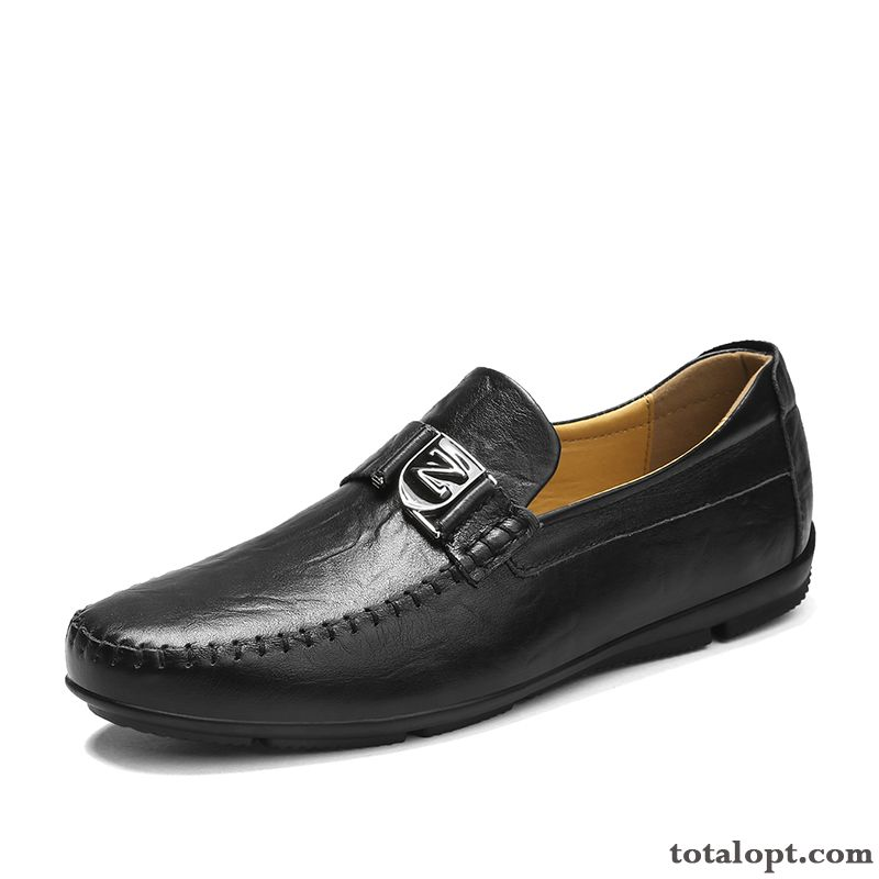 Black Loafers Slip On Leather Shoes Slip-on Men's Casual Genuine Leather Casing New All-match Peacock Blue Silver