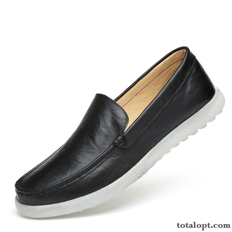 Blue Loafers Summer Black Men's Slip-on Breathable Trend New Leather Shoes Casual Genuine Leather Gray Skyblue Discount