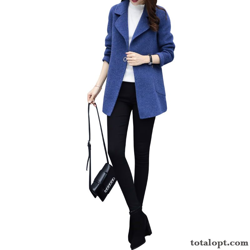 Blue Women's Overcoat New Slim Europe Long Section Winter Autumn Woolen Lady Red Baby Pink
