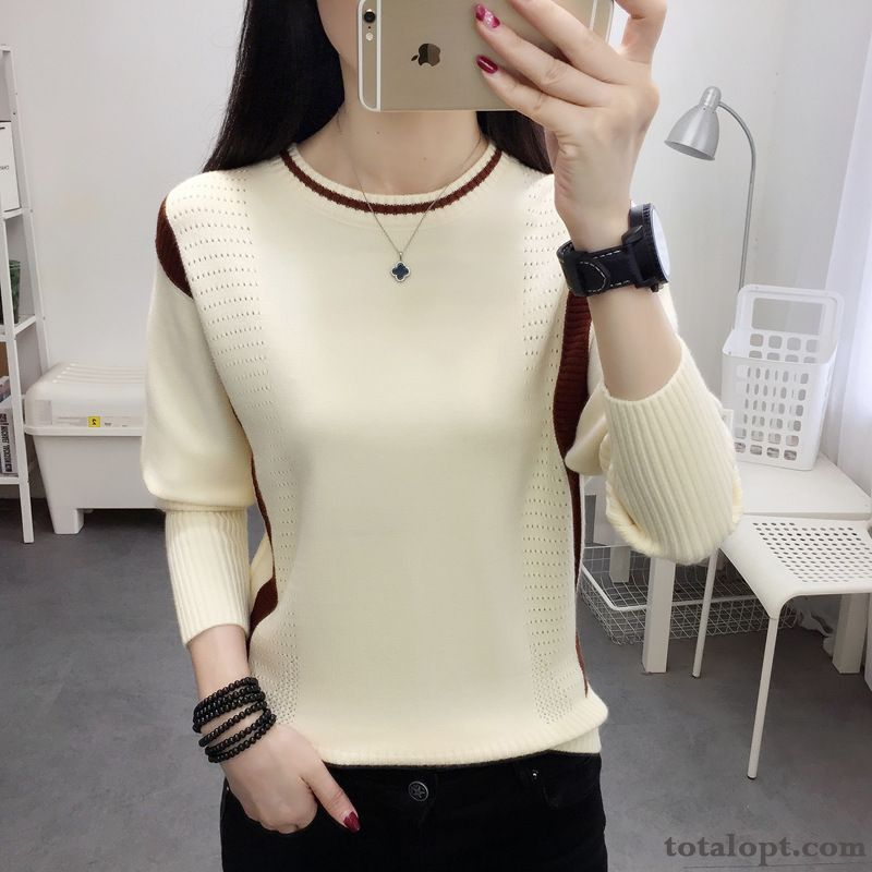 Bottoming Shirt Mixed Colors New Trend White Women's Sweater Long Sleeves Loose Round Neck Knitwear Sweater Pullovers Lemon Coffee Online