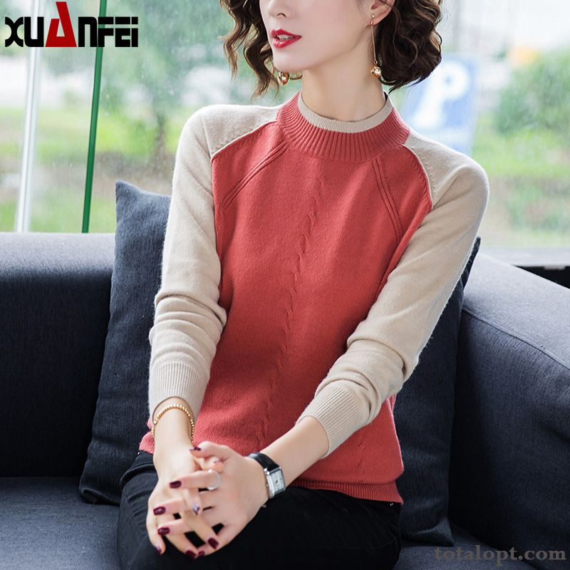 Bottoming Shirt New Europe Pullovers Autumn Red Thin Women's Loose Winter Knitting Sweater Rosybrown Snowy White Discount