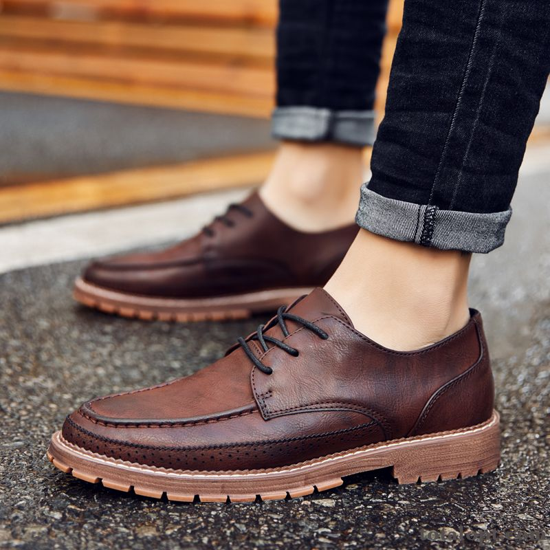 British Lace-up Youth Spring Trend Loafers Brown Leather Shoes Men's Martin Casual Coral Ivory For Sale
