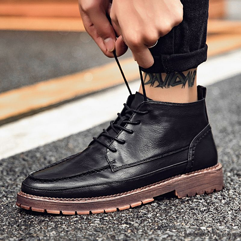 British Leather Shoes High Top Casual Trend Men's Summer All-match Cotton Shoes Martin Boots Black Turquoise Blue Peachpuff