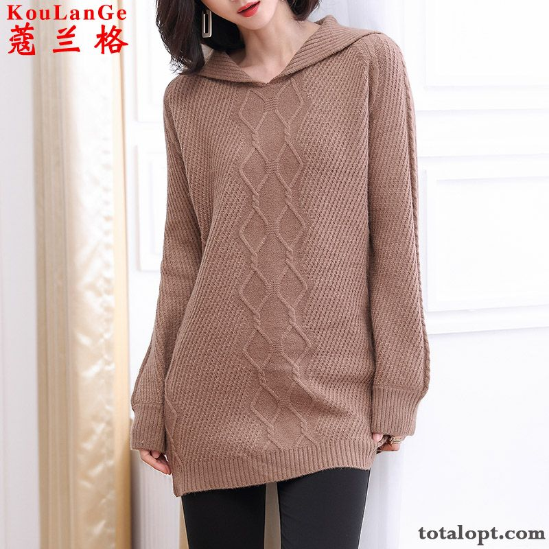Brown Knitting Outwear Fashion Loose Bottoming Shirt Big Women's New Coat Autumn Personality Trend Red Sweater Pure White Cream For Sale