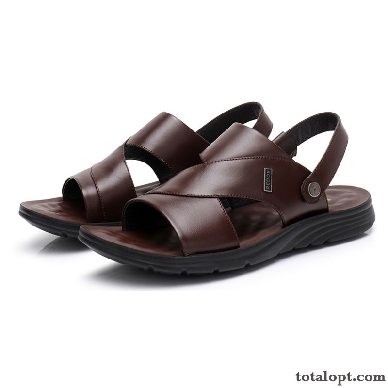 Brown Leather Sandals Men's Summer Anti-skid Genuine Leather Massage Beach Soft Sole Slippers Blue Coffee