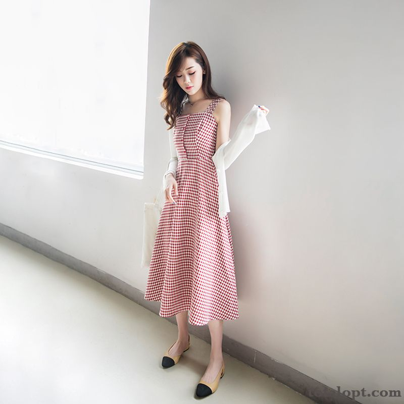 Camisole Long Skirt Women's Two-piece Suit Pink Trend Summer Big Thin New Plum Powderblue