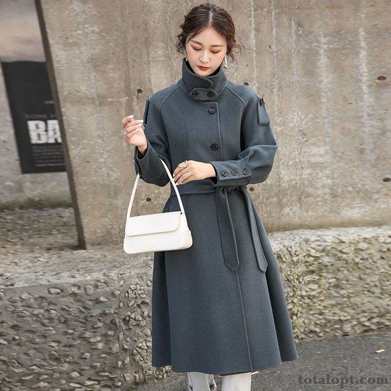 Cashmere Big Brand Fashion Winter Elegant Temperament Overcoat Sided Blue Wool Ivory Sallow Sale