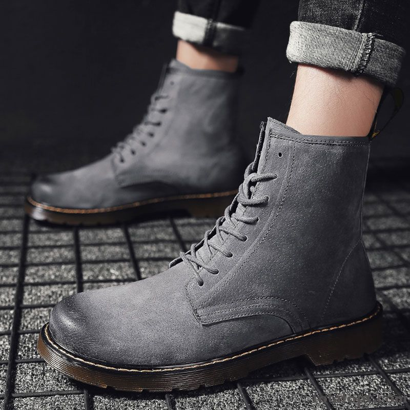 Casual High Top Thermal Plus Velvet Black Boots Martin Boots Winter Trend Gray Men's Autumn British Grey White For Sale