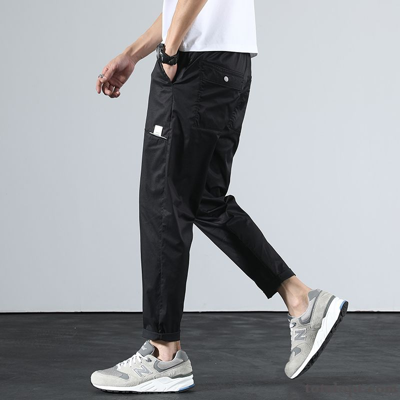 Cheap All-match Straight Black Skinny Pants Ninth Pants New Summer Loose Men's Trend Breathable Silver Salmon