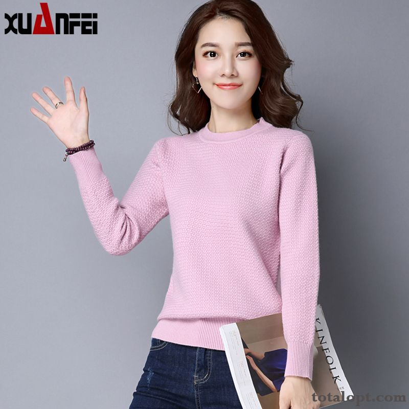 Cheap All-match Thickening Sweater Round Neck Short Pullovers Women's Long Sleeves Winter Clothes Pure New Knitwear Sweater Bottoming Shirt Autumn Ultramarine Carbon Black