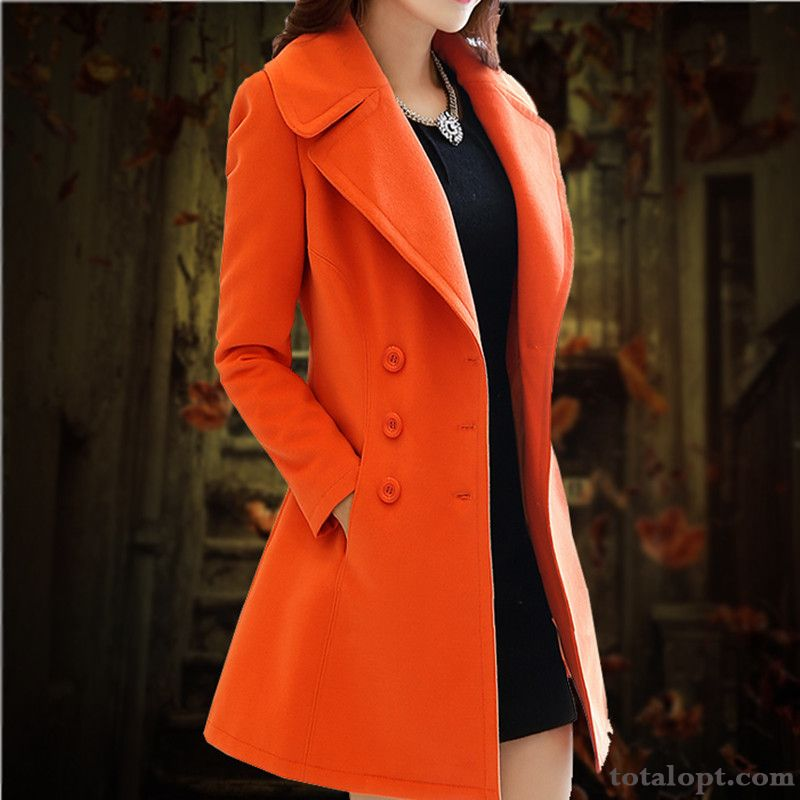 Cheap Autumn Coat Sort Buttons Temperament New Women's Overcoat Woolen Long Section Slim Winter Clothes Europe Darkgreen Salmon
